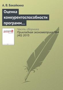 Обложка книги  - Оценка конкурентоспособности программ банков развития по поддержке малого и среднего бизнеса в России
